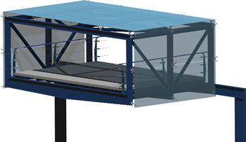SEction bridge in 3d with metallic structure covered of glass without carpentry and with applied materials