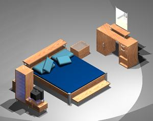 Bedroom suit 3d with applied materials