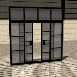 Interior sliding door with black aluminum and glass