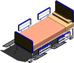 Cama para sala de internacion de hospitales 3D
