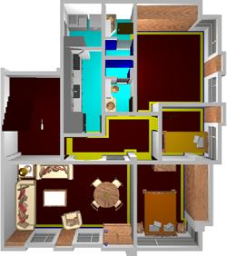 Appartment with furnitures in 3d