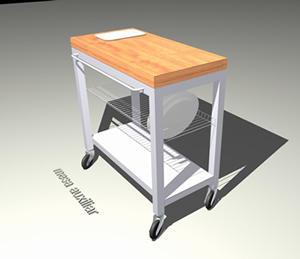 Mesa auxiliar 3 d con materiales aplicados - Bibliocad
