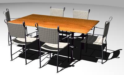 Juego de mesa y sillas de hierro 3D