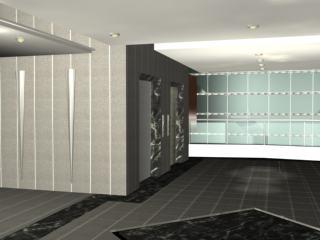 Environment ,hall ,wait room,elevators  - 3D