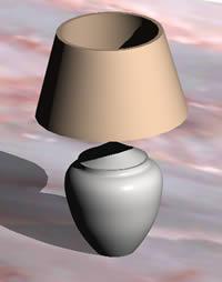 Lampara de mesa 3D con materiales aplicados