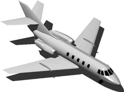 Airplane JET 2 turbines 3D with applied materials