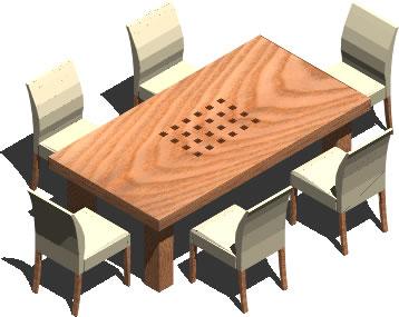 Mesa de comedor 3d para 6 personas bibliocad for Mesas de comedor para 6 personas
