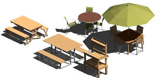 Team of tables for extern patios