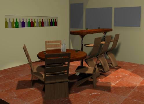 Bar - barra y sillas 3D