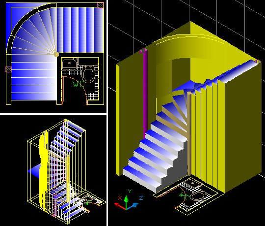 escalera en forma de l en tres dimensiones 42 44 kb bibliocad
