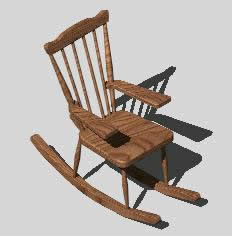 Wondrous Rocker Chair 3D In Autocad Cad Download 206 49 Kb Andrewgaddart Wooden Chair Designs For Living Room Andrewgaddartcom