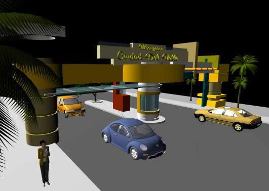 Portico de ingreso vehicular 3d