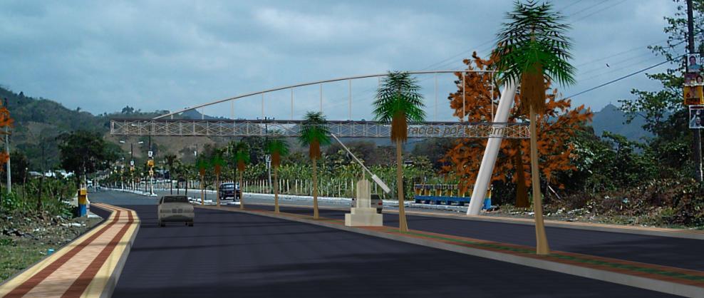Portico 3D de acceso urbano