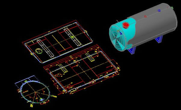 3d Water Tank 2d In Autocad Cad Download 345 18 Kb
