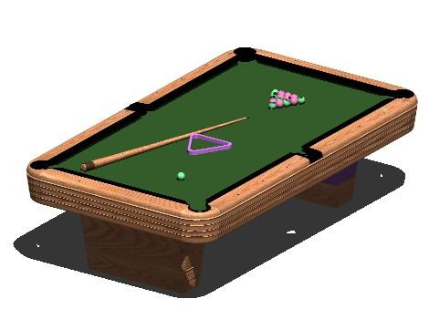 3d Pool Table In Autocad Cad Download 950 93 Kb Bibliocad
