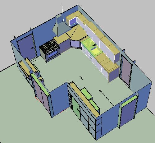 3d Kitchen In Autocad Cad Download 464 05 Kb Bibliocad