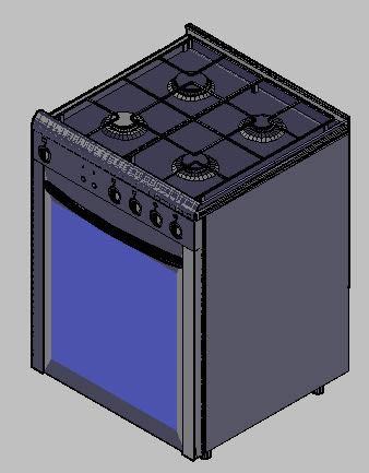 Fogão 4 bocas 3D - Cocina 4 hornallas 3d