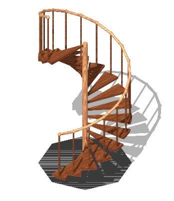 Gradas en espiral en madera 3d en autocad cad kb - Escalera en espiral ...