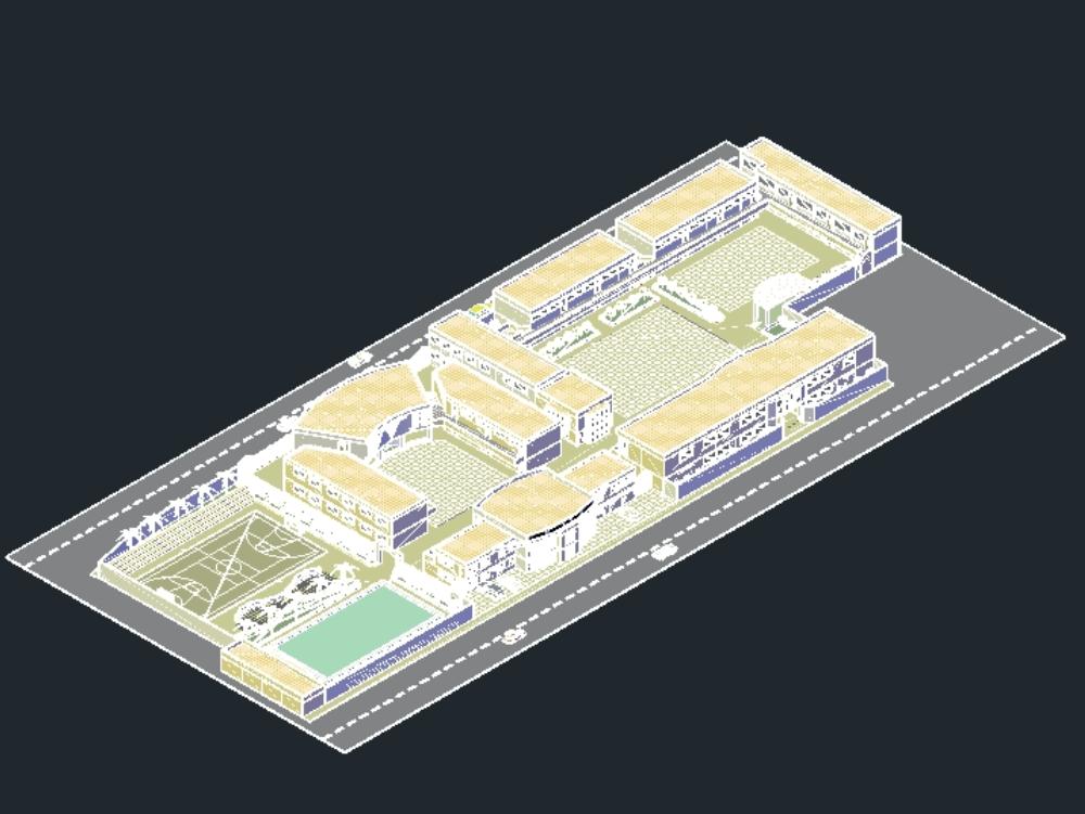 Educative School 3d In Autocad Cad Download 4 72 Mb