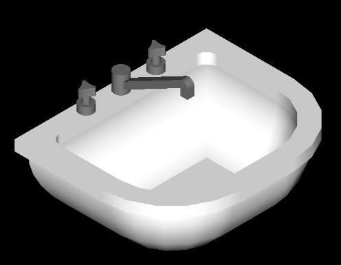 Lavabo 3d Dwg.Wash Basin 3d In Autocad Download Cad Free 34 1 Kb