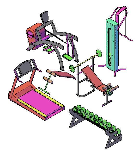 Equipo para gimnasio 3d en autocad descargar cad gratis - Equipamiento de gimnasios ...
