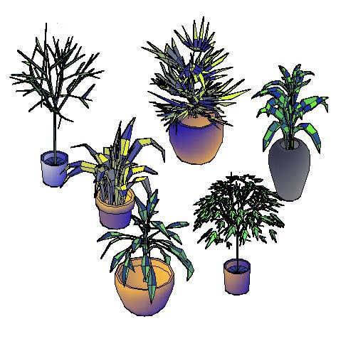 Block Potted Plants In 3d In Autocad Download Cad Free 77726