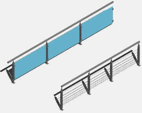 Stainless steel handrails in AutoCAD | CAD download (575 85