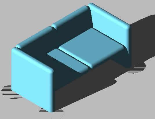 SILLON 2 PLAZAS EN 3D
