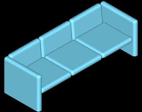 SILLON 3 PLAZAS EN 3D