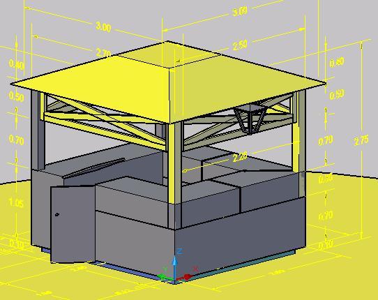 Kiosco o Caseta de Madera en 3D
