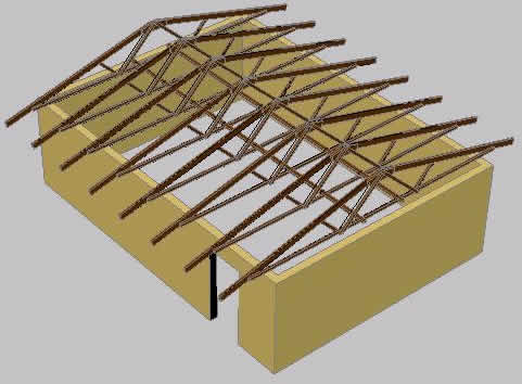 Wood Frame Roofing For School In 3d In Autocad Cad 130