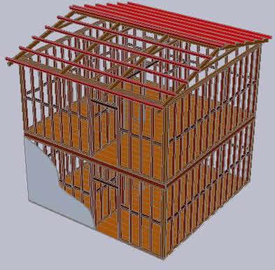3d De Estructura De Madera De Una Casa Dos Niveles 455 43 Kb