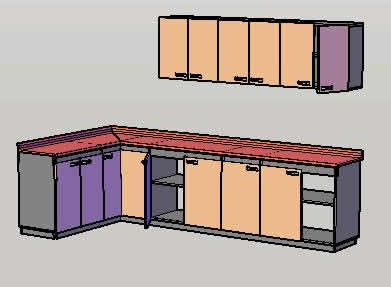 Kitchen Cabinets In 3d In Autocad Cad Download 607 73 Kb Bibliocad