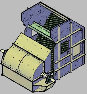Hammer crusher for 3d cement top view