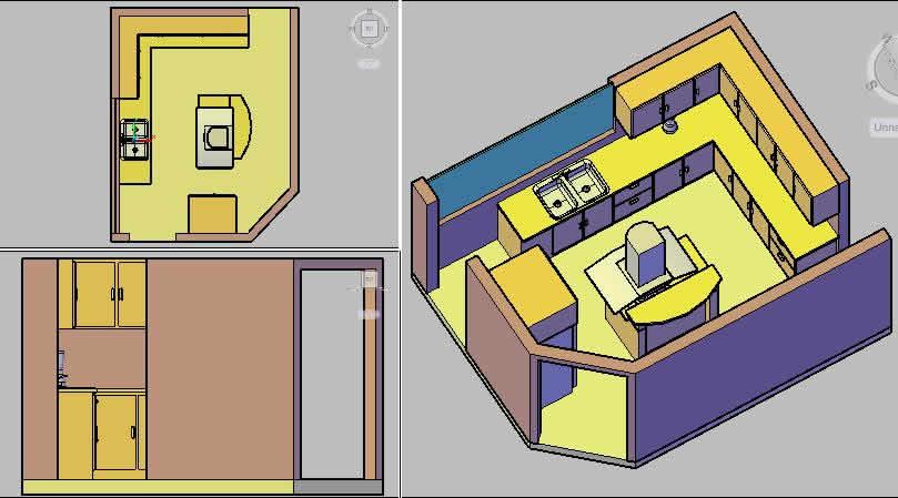 Kitchen in 3d cutaway view
