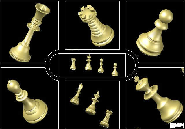 Chess Pieces In Autocad Download Cad Free 4 97 Mb