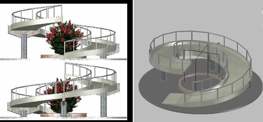 Snail shaped ramp wheelchair access 1 3 mb bibliocad for Escalera discapacitados