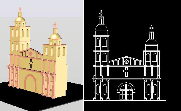 Front Of Church 3d In Autocad Cad Download 388 91 Kb