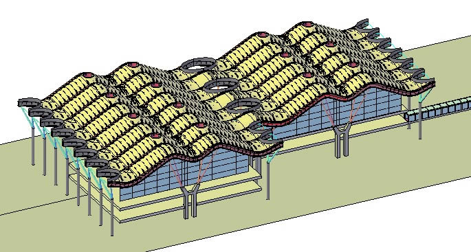TERMINAL T4  at MADRID AIRPORT -- ROOF COVER SCHEMATIC