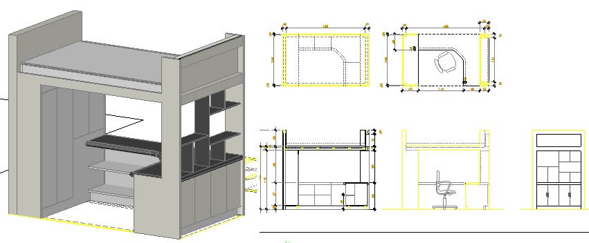 Wood Bunk Bed In Autocad Download Cad Free 513 4 Kb