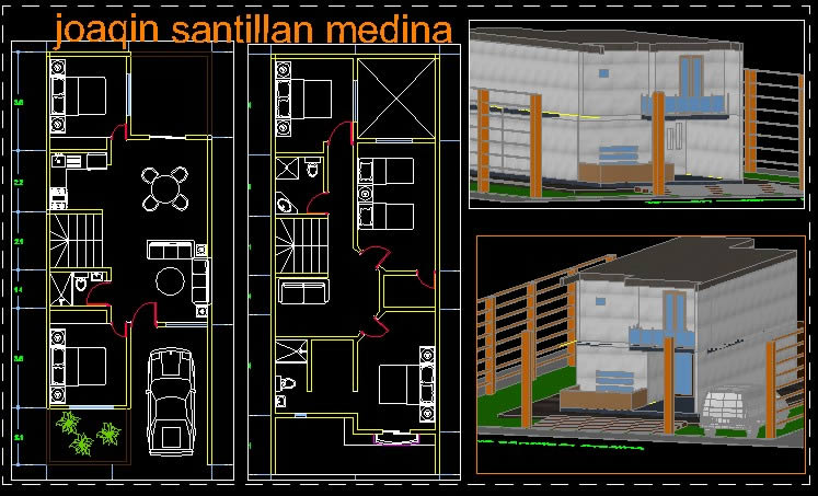 2 storey house in AutoCAD   Download CAD free (1 2 MB
