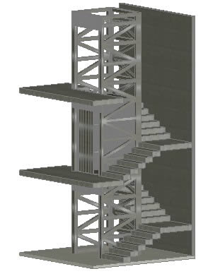 Stairs and elevator 3d in AutoCAD | CAD download (430 14 KB