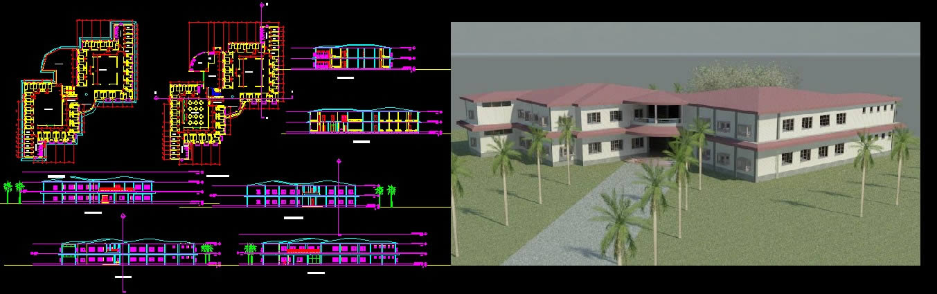 Hostel Plan And Elevation In Autocad Cad Download 1 08