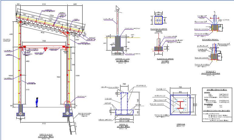 Edificio con estructura metalica en pdf descargar cad 2 for Estructuras para viveros plantas