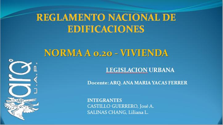 Reglamento de Edificaciones en Perú.