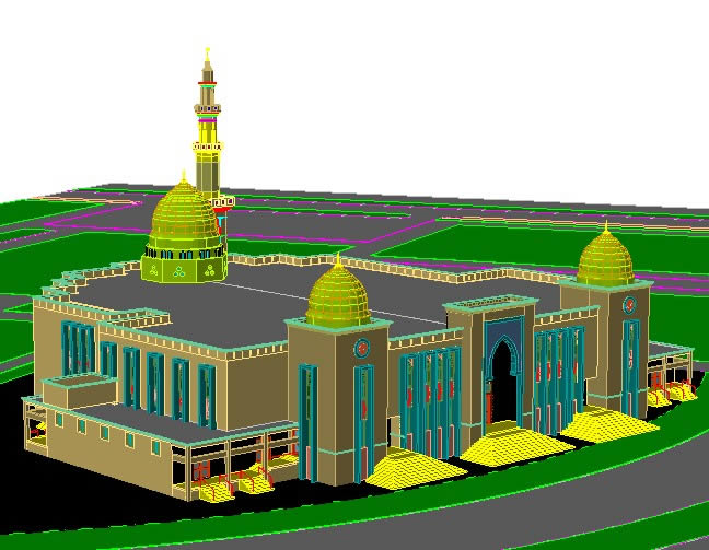 Mosque 3d Cad Drawing In Autocad Cad Download 4 95 Mb