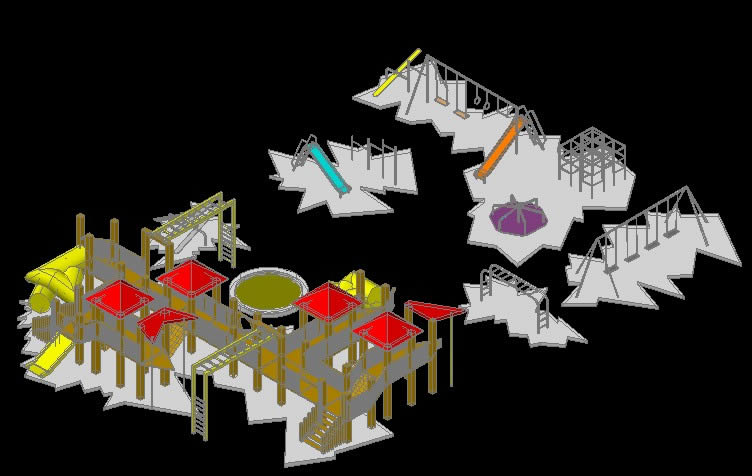 WOODEN PLAYGROUND EQUIPMENT 3D