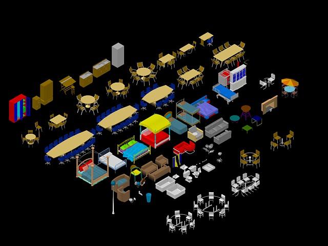 M veis 3d bibliocad for Muebles de oficina en autocad 3d gratis