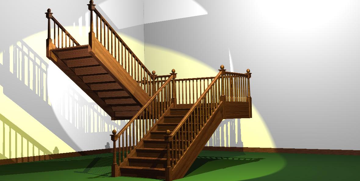 Escalera izquierda de dos tramos 3d en autocad cad mb bibliocad - Escalera dos tramos ...
