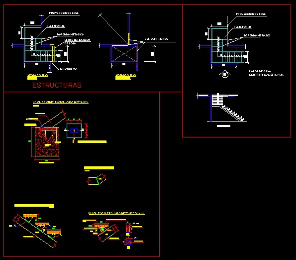 Escalera metalica bibliocad for Calculo escalera metalica